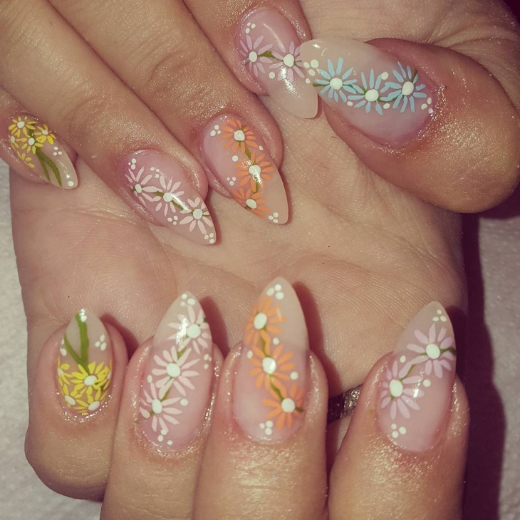 daisy nail art for long nails