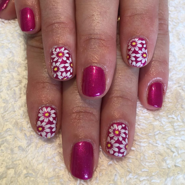 pink and white daisy nails