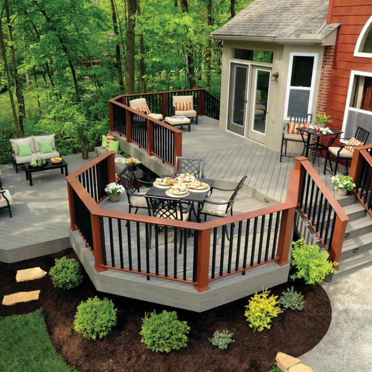 20 ground level deck designs idea design trends for Disenos de patios traseros