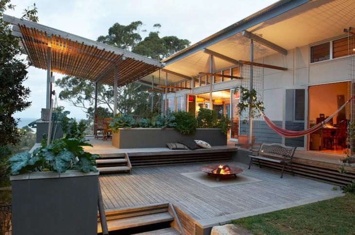 Outdoor Ground Level Deck Idea.
