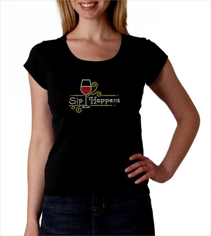 Wine Rhinestone T Shirt