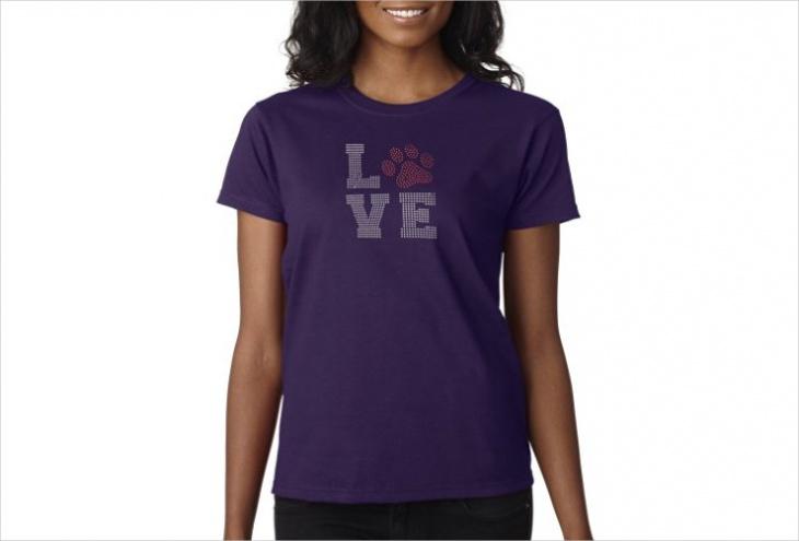 Rhinestone Paw Print T Shirt