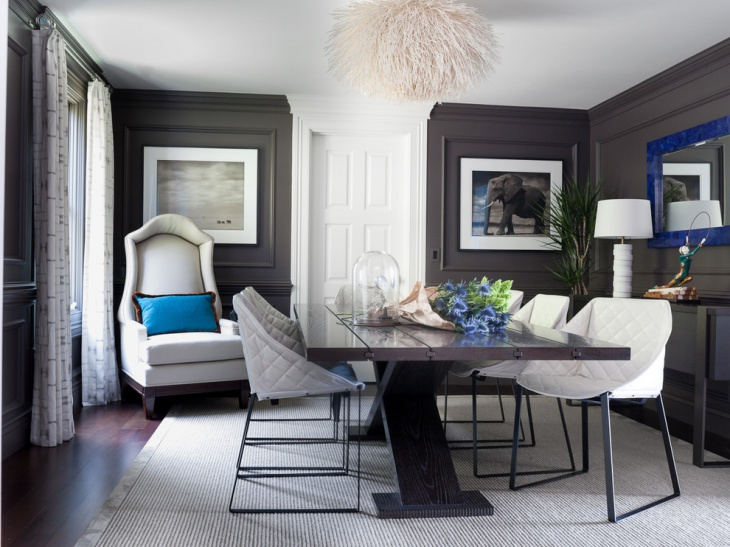 Dark Grey Dining Room Design