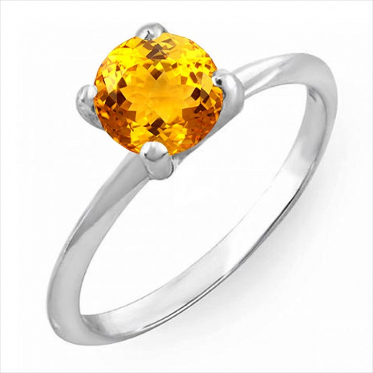 round citrine solitaire ring
