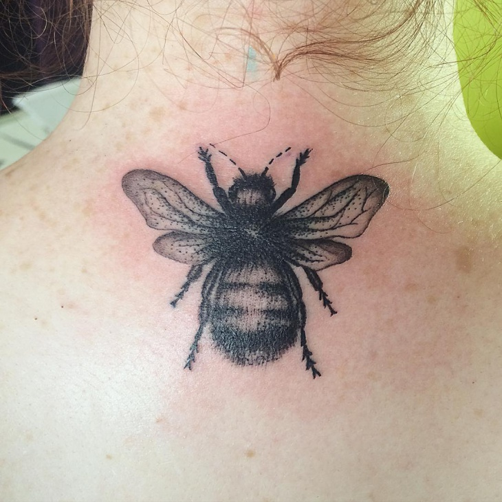 Bumble Bee Neck Tattoo