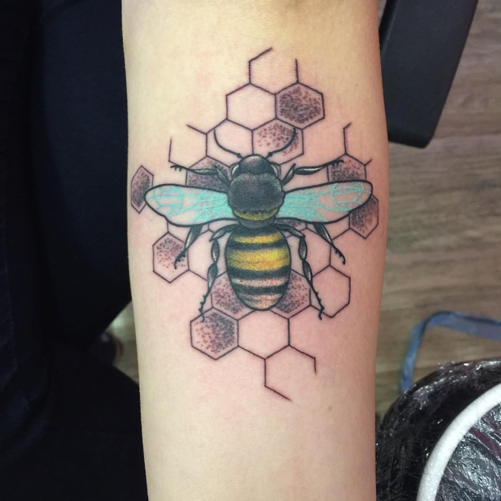 colorful bumble bee tattoo