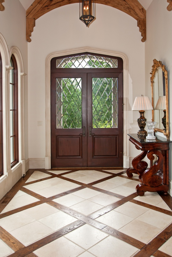 wood and tile combo floor entryway - Entryway Design Ideas