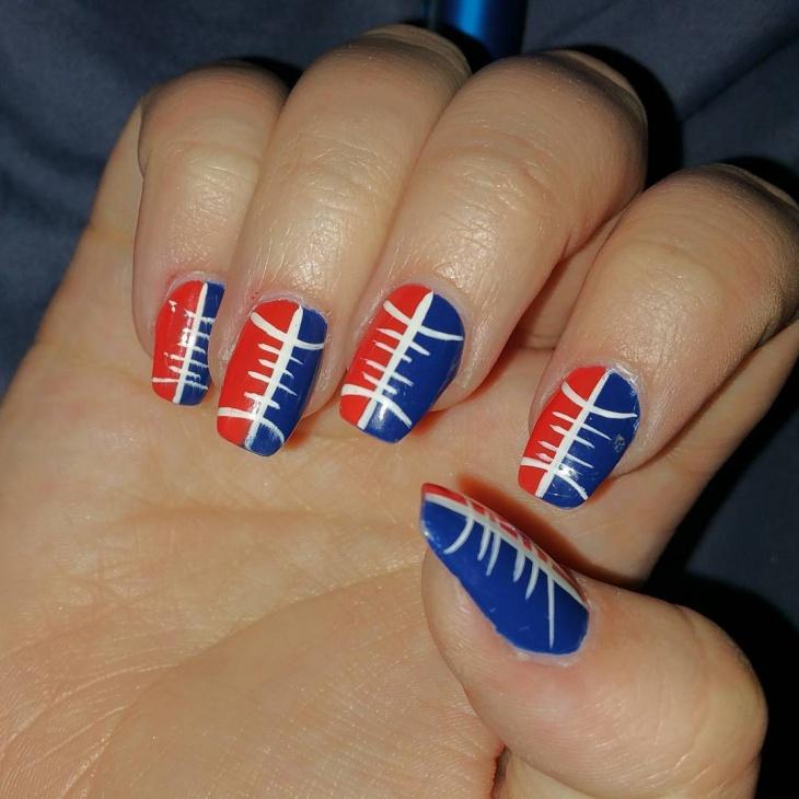 patriot football nail design