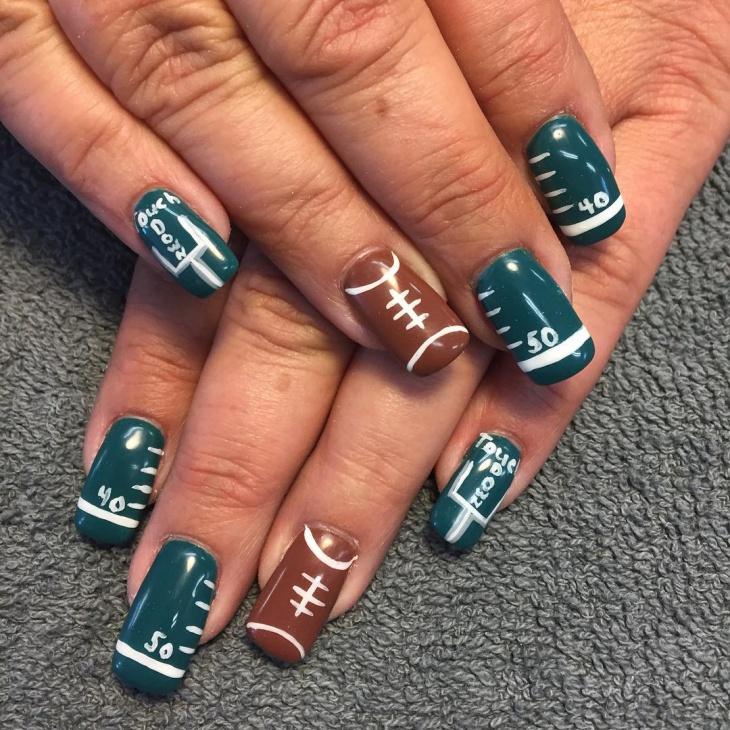 football field nail design