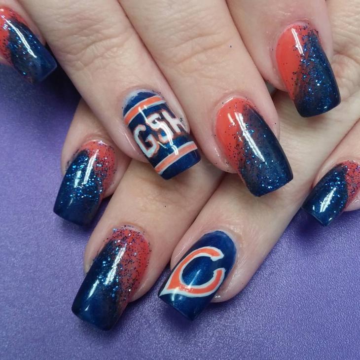 acrylic football nail design