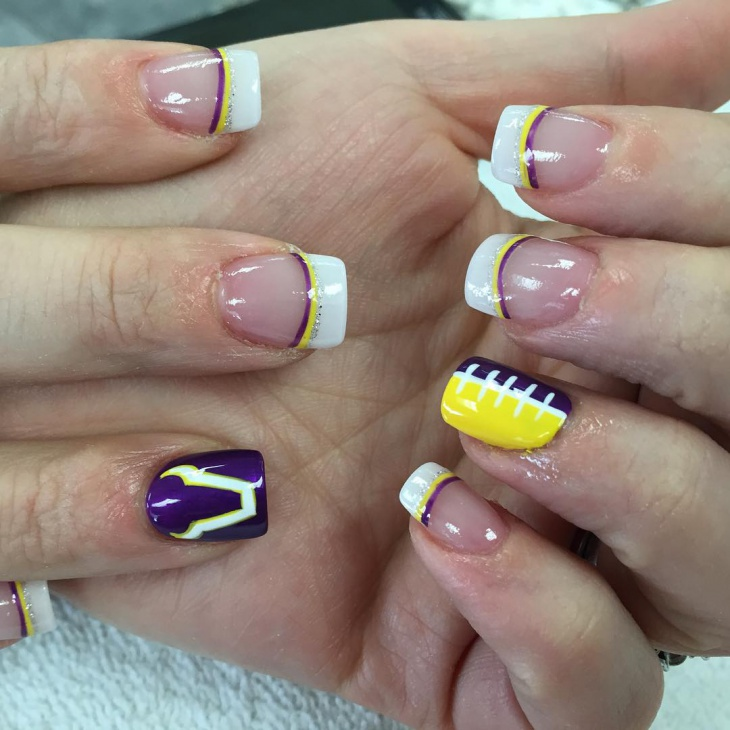 french tip football nails