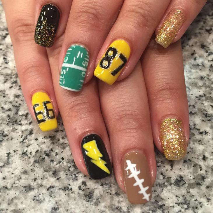 glitter football nail art