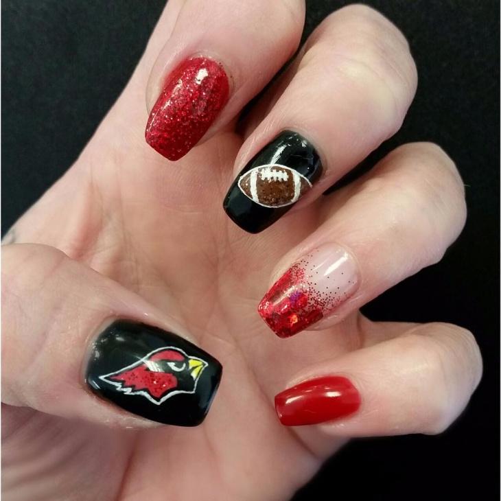 football inspired nail design