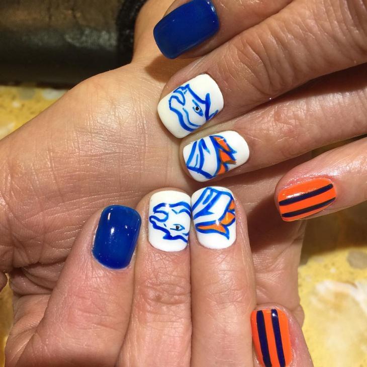 blue football nail design