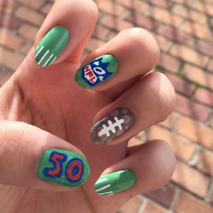 football sport nail design