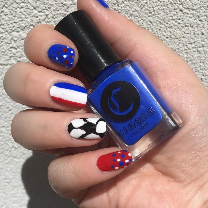 dotted football nail art