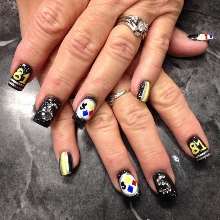 black football nail art