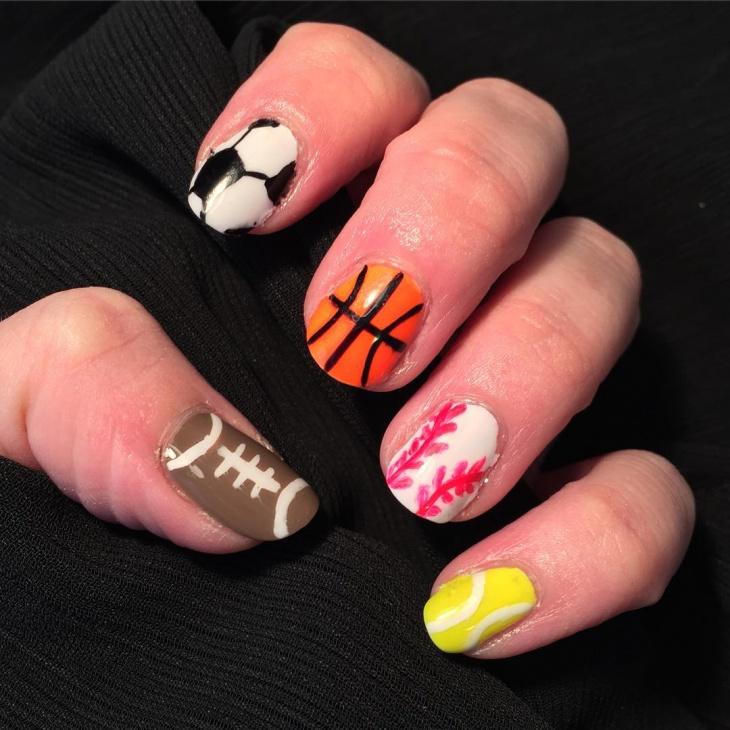 multicolor football nail art