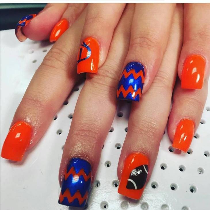 orange football nail design