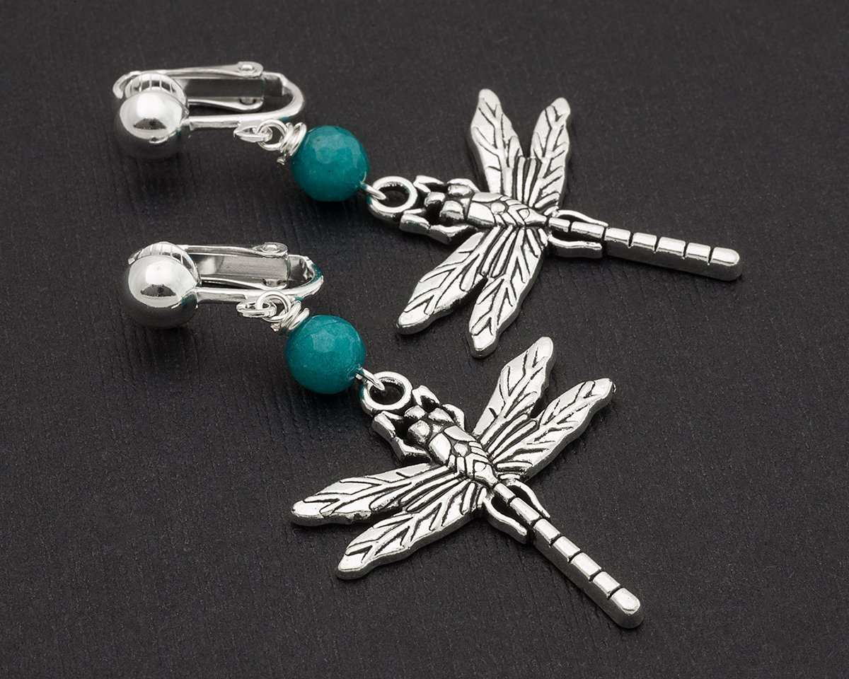 Dragonfly Silver Insect Teal Blue Earrings