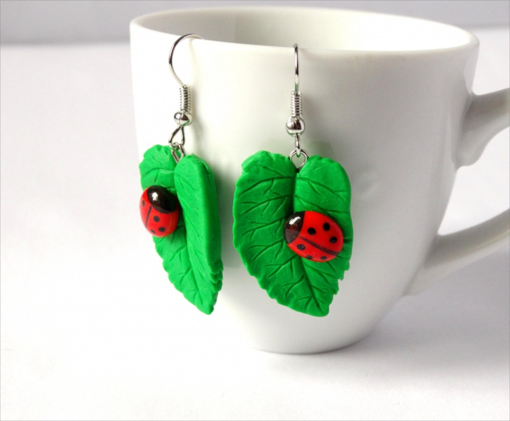 Red Ladybug Dangle Earrings