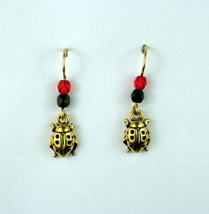 Gold Tone Insect Earrings