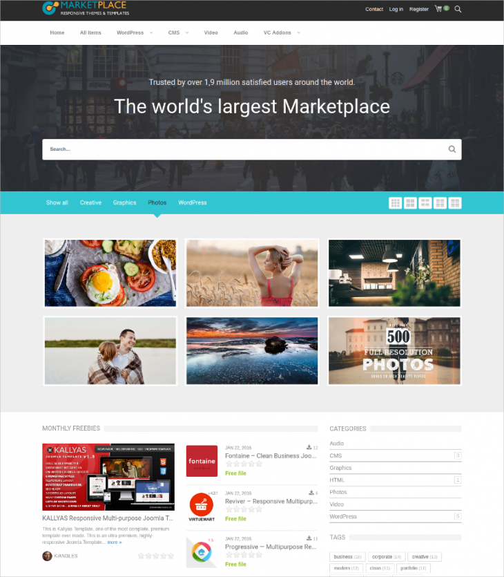Market Place Website WordPress Theme