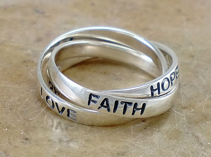 silver love and hope faith ring