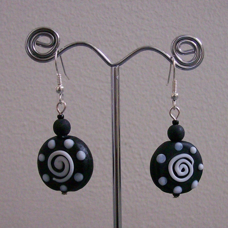 Black and White Swirl Plated Earrings