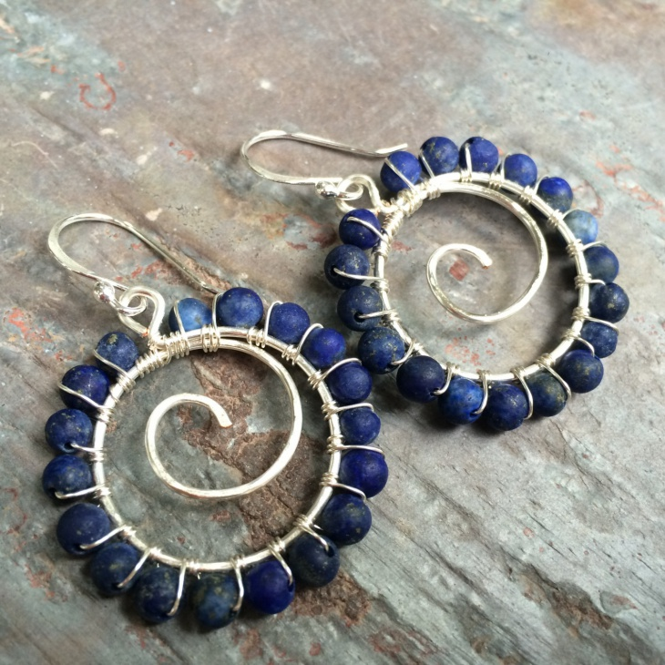 Blue Gemstone Swirl Earrings