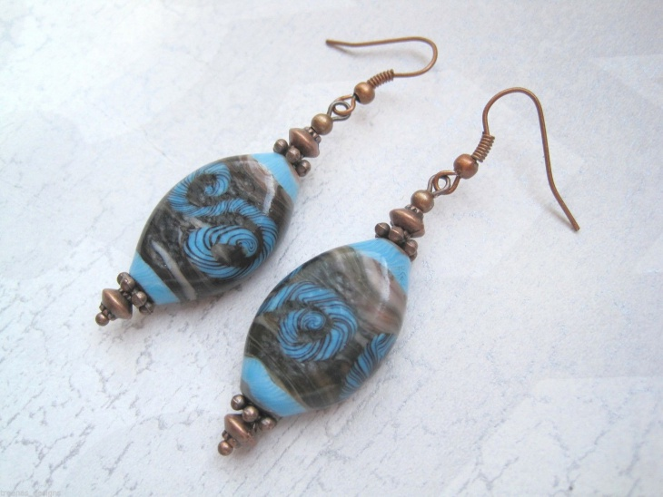 Brown Swirl Glass Earrings
