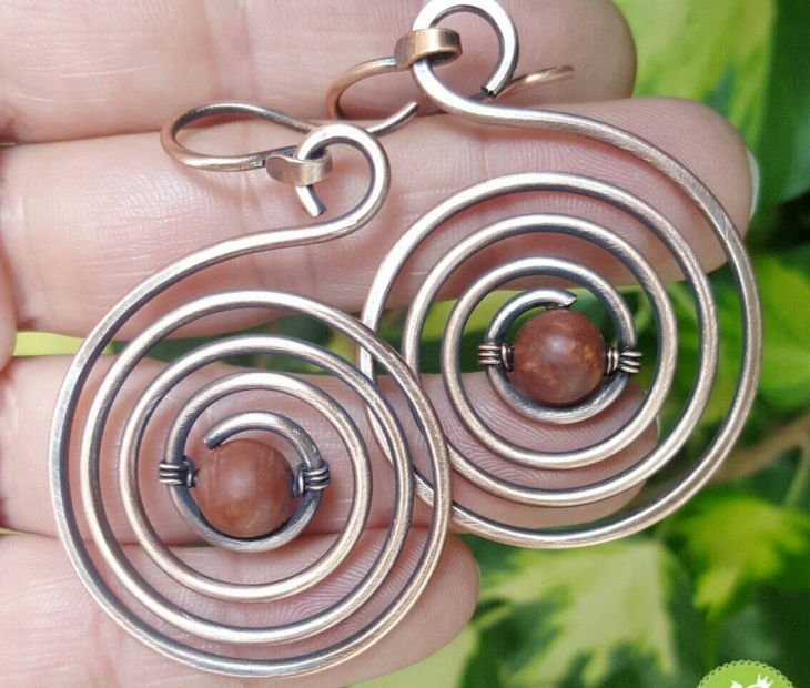 Wire Jasper Swirl Earrings