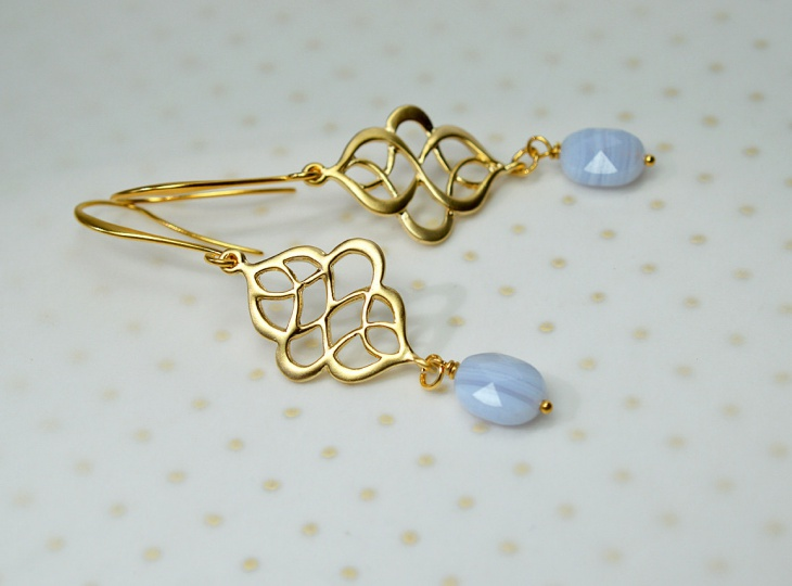 Blue Lace Swirl Earrings