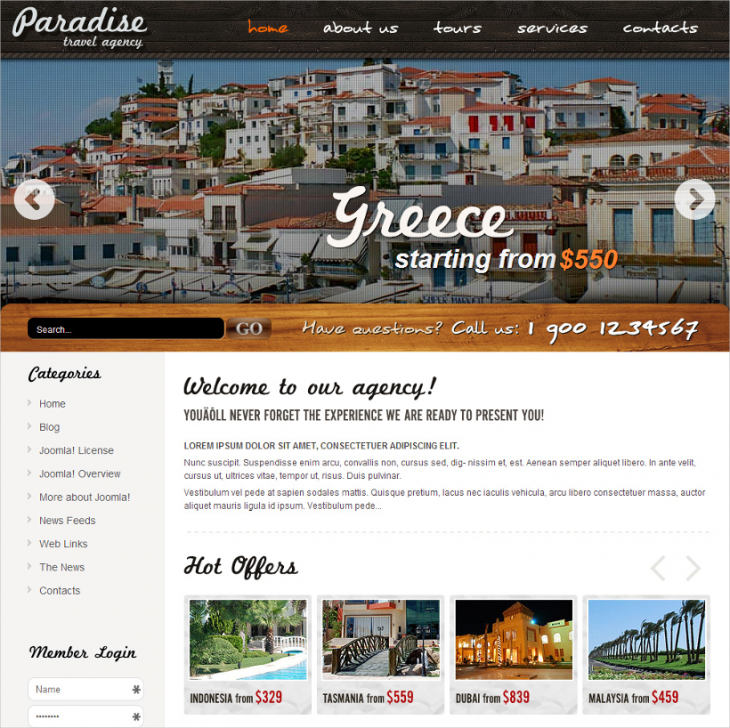 travel agency joomla free template