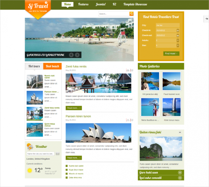 well crafted responsive travel joomla theme