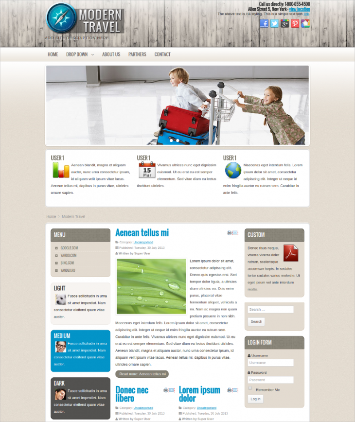 simple travel agency joomla theme for free