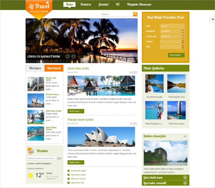 optmized joomla travel website template