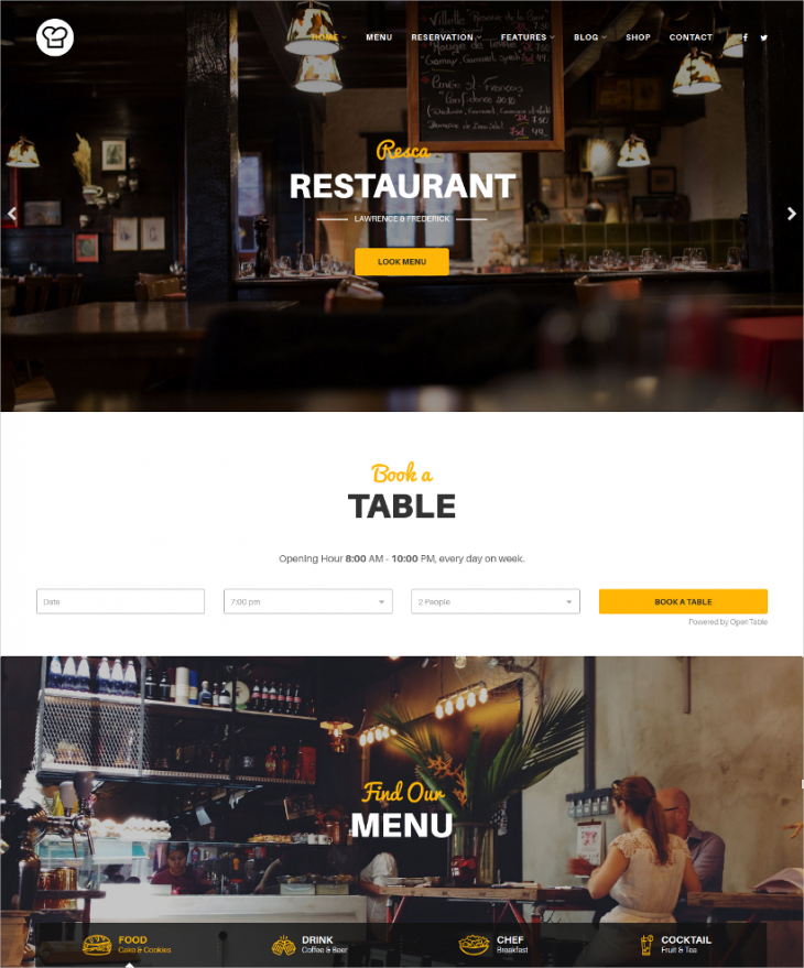 Excellent Cafe & Restaurant Joomla Template