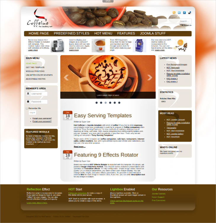 Lightbox Cafe Joomla Website Theme