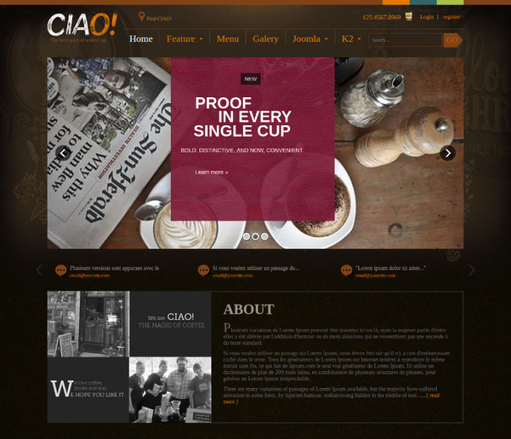 Retina Ready Coffee Shop Cafe Joomla Theme