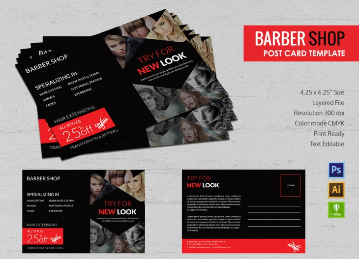Editable Barbershop Postcard Template