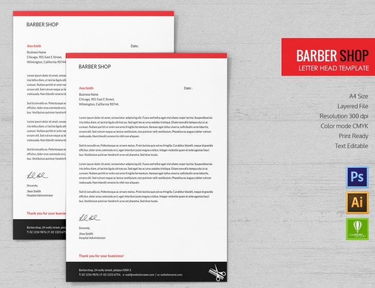 Barbershop Letterhead Template