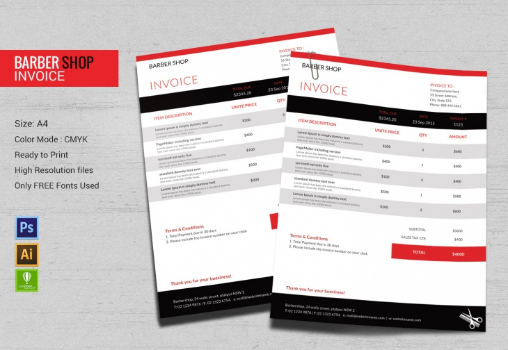 A4 Barbershop Invoice Template