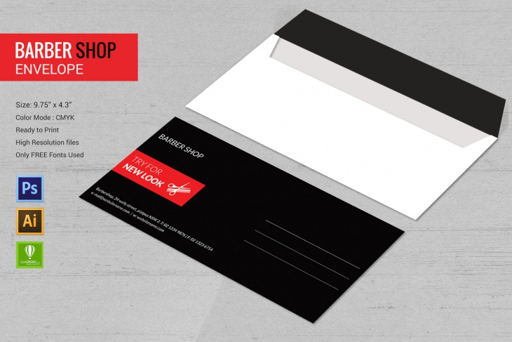 High Quality Barbershop Envelope Template
