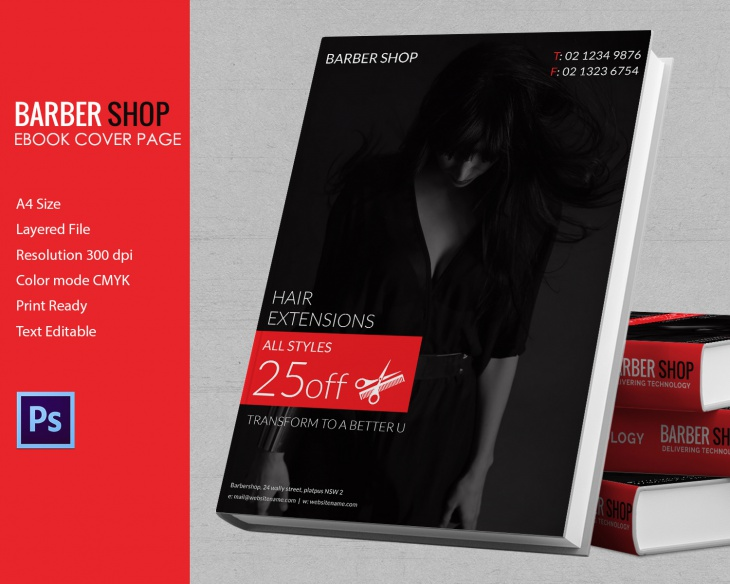 A4 Barbershop Ebook Cover Template