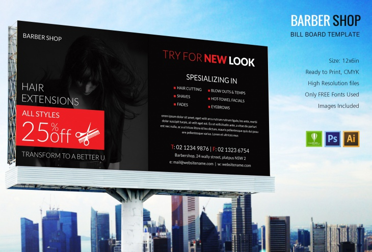 Barbershop Billboard Print Template