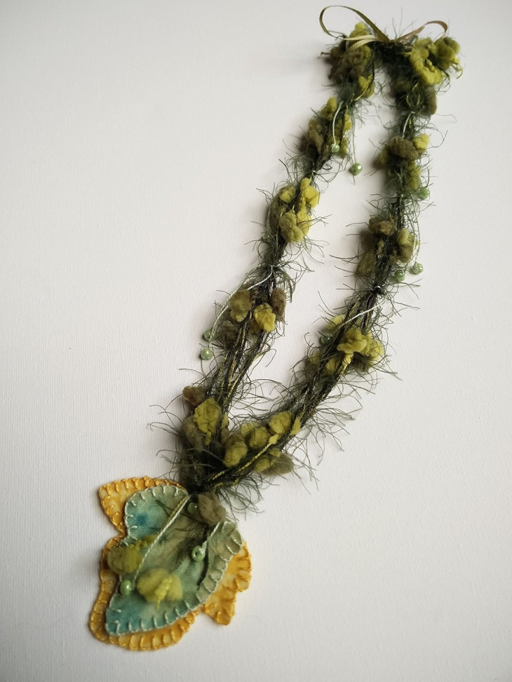 wool and fabric necklace