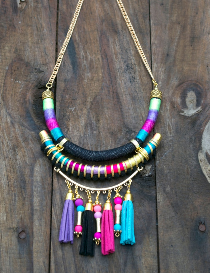 Tribal Fabric Necklace Design