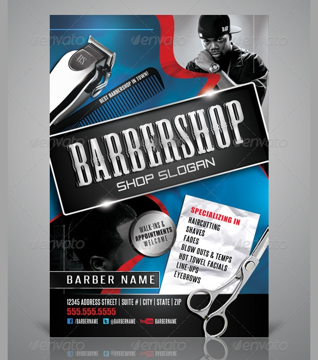 Blue Barbershop Flyer Design