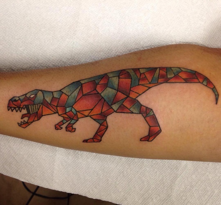 Geometric Dinosaur Tattoo